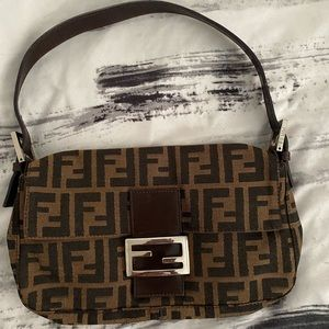 FENDI Zucca Pattern Baguette Purse Brown Canvas